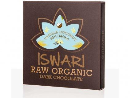 Bio Čokoláda kokosový krém - Vanilka 60% 75g Iswari