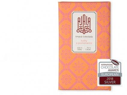Bio čokoláda 70% květy a pomeranče výběrové boby 45g Ajala