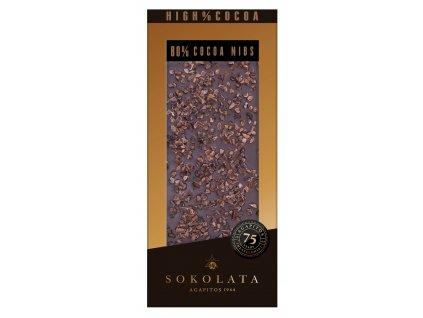 80% hořká čokoláda s kousky kakaa 100g SOKOLATA AGAPITOS