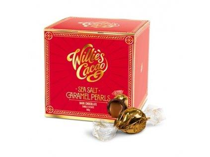 Willie's Cacao Pralinky Caramel Pearls hořké 71% se slaným karamelem, 150g