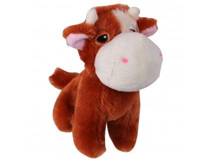Hračka pes - plyšová kráva pískací 14 cm