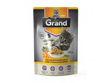 Grand deluxe Cat kuřecí se zeleninou, kapsička 100 g