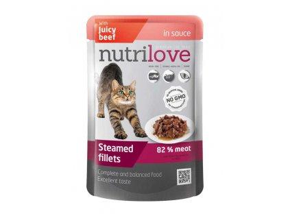 Akce Nutrilove kočka kapsička, šťáva hovězí 85g