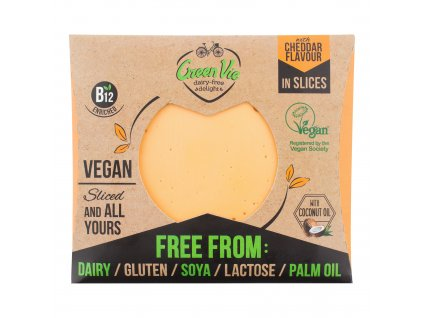 Veganská alternativa sýru cheddar plátky 180 g GREENVIE