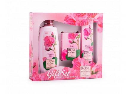 Dárkový set - sprchový gel, mýdlo, krém na ruce z růží 480g Biofresh