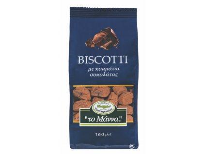 Krétské máslové sušenky BISCOTTI s kousky čokolády a olivovým olejem 160g TO MANNA