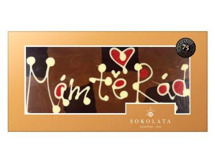 MEGA velká čokoláda s nápisem 160g SOKOLATA AGAPITOS text na čokoládě: MÁM TĚ RÁD