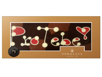 MEGA velká čokoláda s nápisem 160g SOKOLATA AGAPITOS text na čokoládě: PRO TEBE