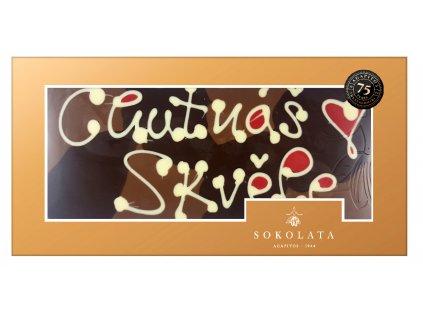 MEGA velká čokoláda s nápisem 160g SOKOLATA AGAPITOS text na čokoládě: CHUTNÁŠ SKVĚLE