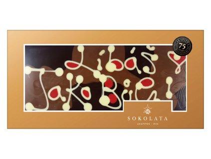 MEGA velká čokoláda s nápisem 160g SOKOLATA AGAPITOS text na čokoládě: LÍBÁŠ JAKO BŮH!