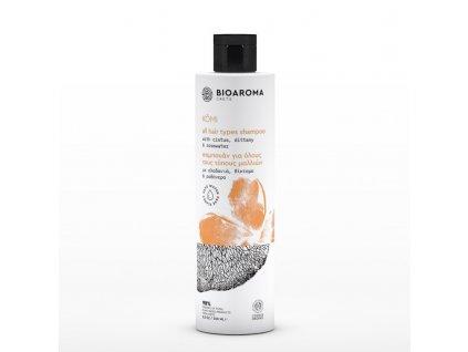 BioAroma kosmetika KÓMI BIO šampón pro všechny typy vlasů s diktamem, Cistem a růžovou vodou 250ml BioAroma