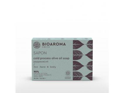BioAroma kosmetika SAPON BIO olivové mýdlo s mátou 90g BioAroma