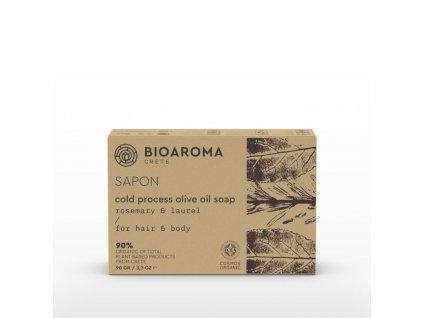 BioAroma kosmetika SAPON BIO olivové mýdlo s rozmarýnem a vavřínem na podporu růstu vlasů 90g BioAroma