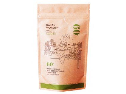 Kakau worship 60% BIO kakao na horkou čokoládu s kardamomem TROPICAL GLACIER kolekce PERU 150g KAKAU