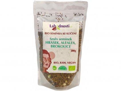 Bio směs semínek ke klíčení hrášek,alfalfa, brokolice 200g Lahodnosti