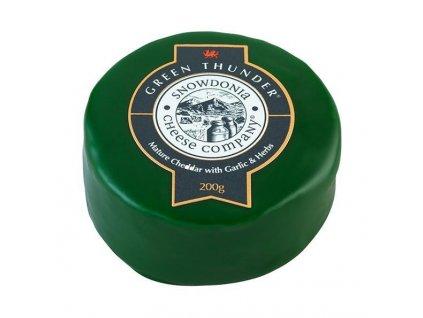 Akce Snowdonia Sýr Cheddar GREEN THUNDER, s česnekem a bylinkami, 200g