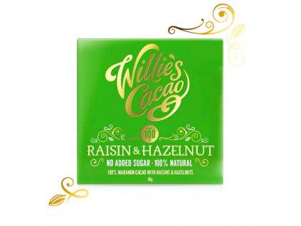 Willie's Cacao100% čokoláda bez přidaného cukru s rozinkami a ořechy, 50g