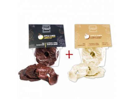 Schocolade & Frucht Jablka v belgické čokoládě + jablka v karamelu 50g+50g