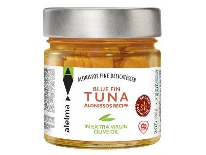 ALELMA Fine Delikatessen Uzený modroploutvý tuňák v olivovém oleji z ostrova Alonissos 212g ALELMA