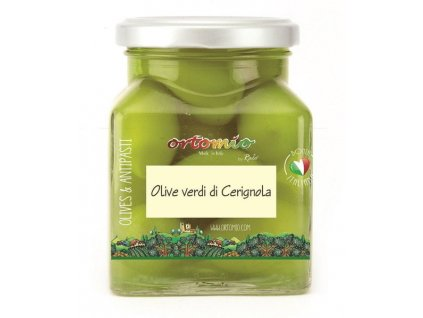 Ortomio Zelené olivy Bella di Cerignola s peckou, 314 ml