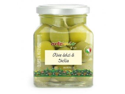 Ortomio Sicilské olivy s peckou ''Verdolina'', 314 ml