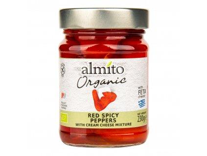 Papriky červené pikantní plněné sýrem 230 g BIO ALMITO DMT 10/2021