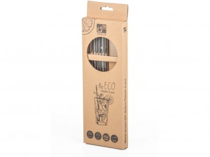 Kovová brčka BeEco Classic 6 ks stříbrná, rovná + kartáček na čištění