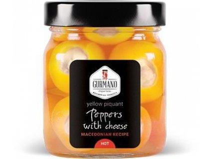 AKCE Gurmano Žluté papričky plněné sýrem HOT palivé, 290g