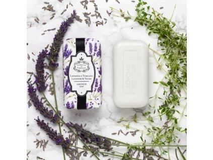LEVANDULE A TYMIÁN - přírodní mýdlo s olivovým olejem, 150g