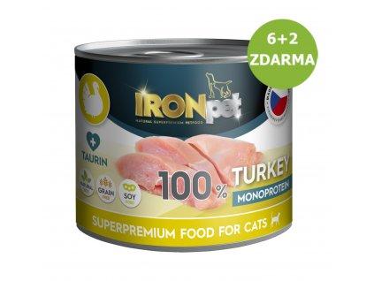 AKCE IRONpet Cat Turkey (Krůtí) 100% Monoprotein, konzerva 200 g AKCE 6 + 2 ZDARMA