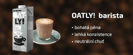 Oatly Barista Banner PURO shop, ten pravý rostilinný nápoj pro perfektní pěnu do kávy.