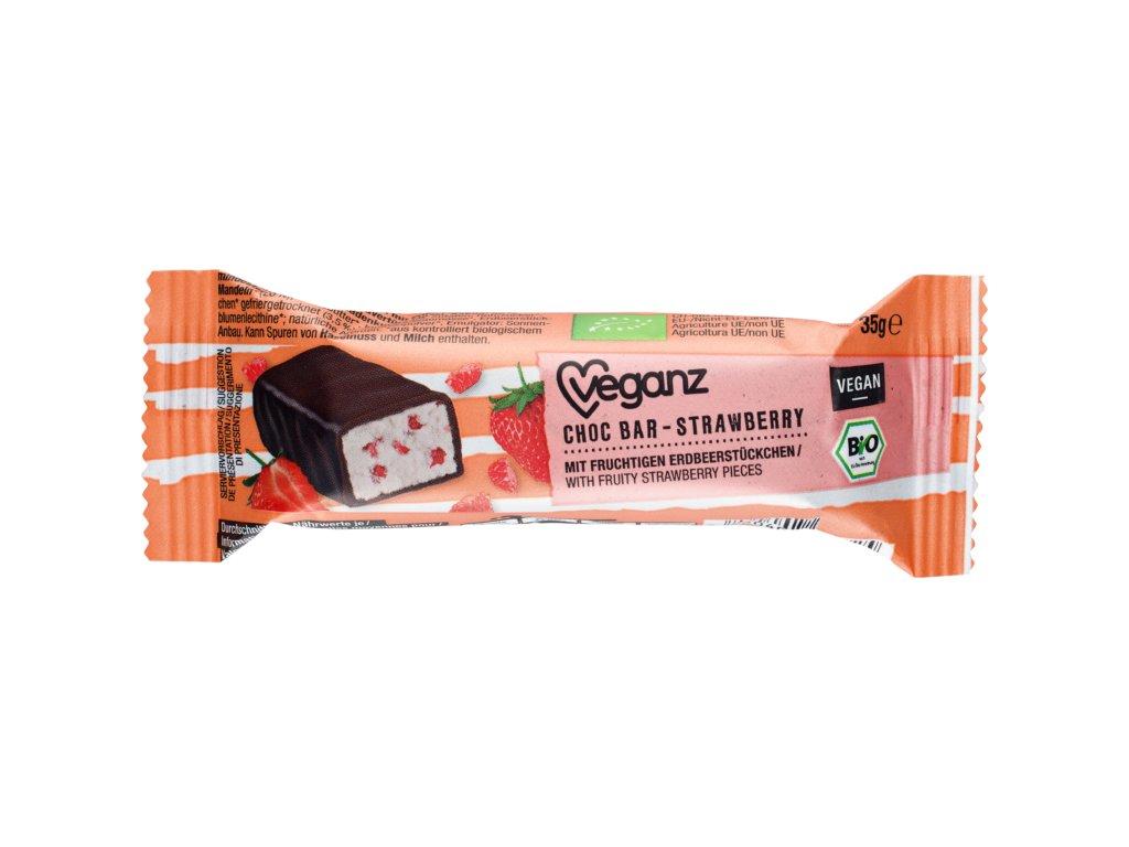 veganz cokoladova tycinka s jahodami bio
