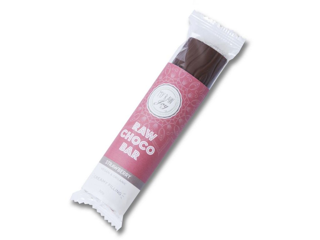 Raw čokoládová tyčinka s jahodovou náplní, Bio