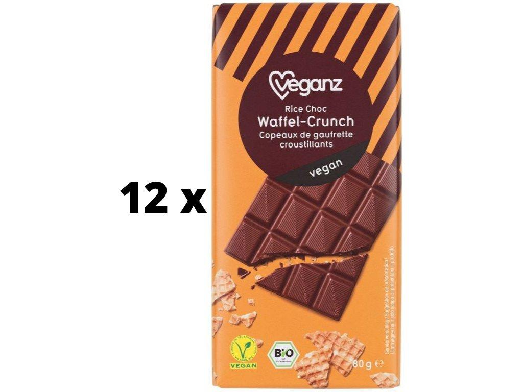 veganz cokolada s krupavymi vaflemi bio vyprodej 12 kusu