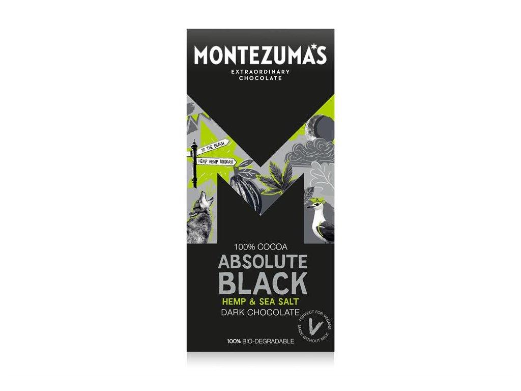 montezumas 100% tmava cokolada s konopnymi seminky a morskou soli