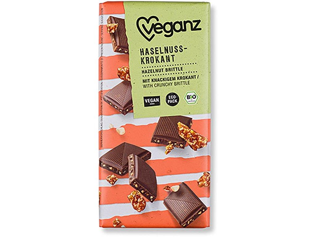 Veganz čokoláda s lískovooříškovým krokantem, Bio