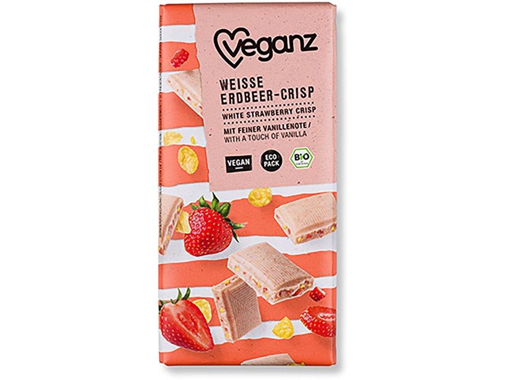 Veganz bílá čokoláda s jahodami a křupinkami, Bio