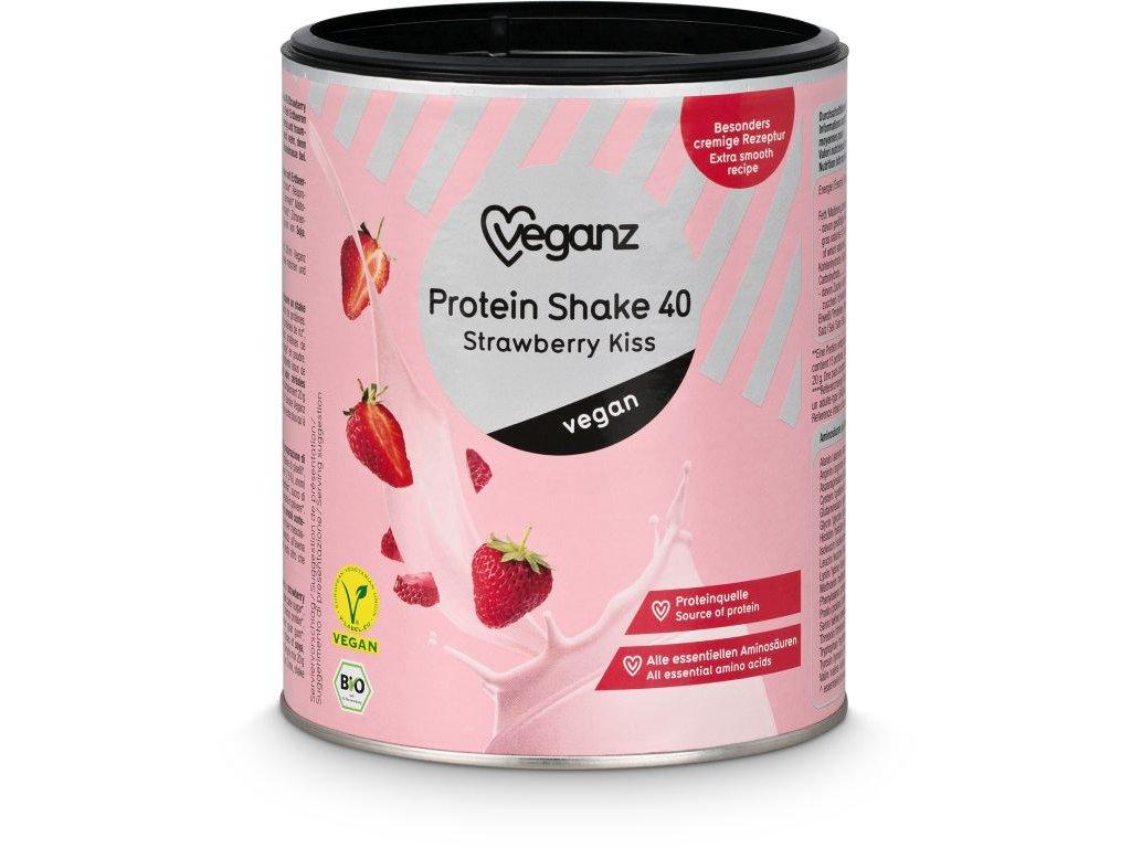 Veganz proteinový shake 40 - jahodový polibek, bio