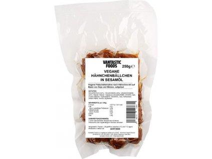 Veganské kuřecí kuličky v sezamovém oleji