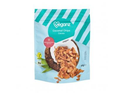 Veganz kokosové chipsy kakaové, Bio