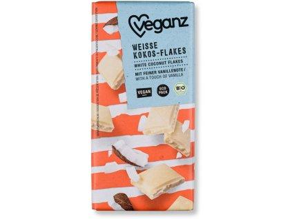 Veganz bílá čokoláda s kokosovými lupínky, Bio