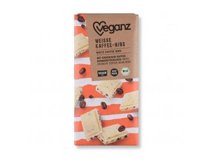 veganz bila cokolada s kavovymi zrnky bio