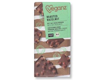 veganz cokolada s prazenymi liskovymi orechy bio