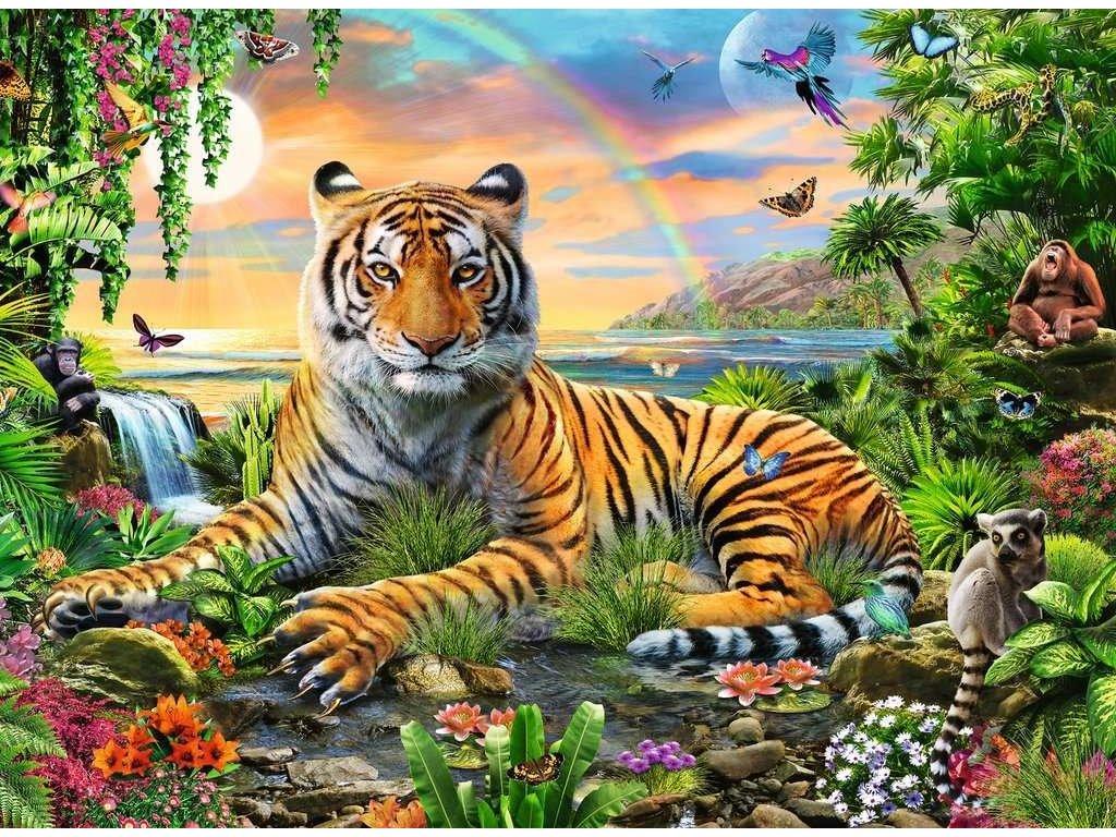 RAVENSBURGER Puzzle Tygr v džungli XXL 300 dílků