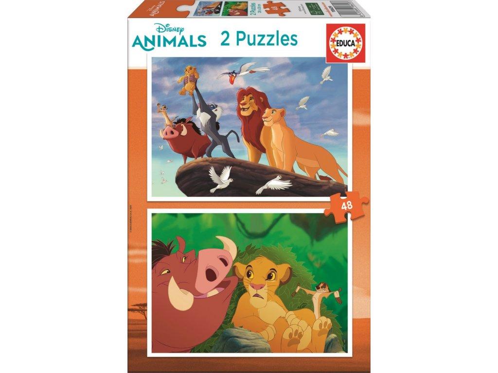 EDUCA Puzzle Lví král: S nejbližšími 2x48 dílků