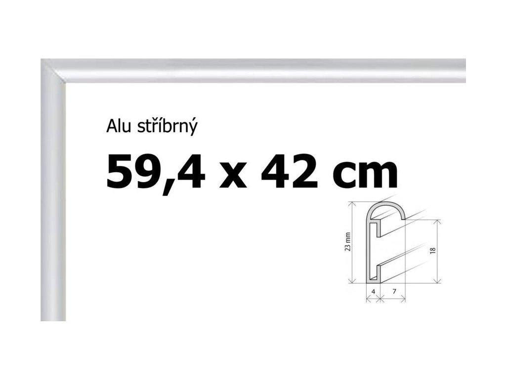 BFHM Hliníkový rám na puzzle 59,4x42cm A2 - stříbrný
