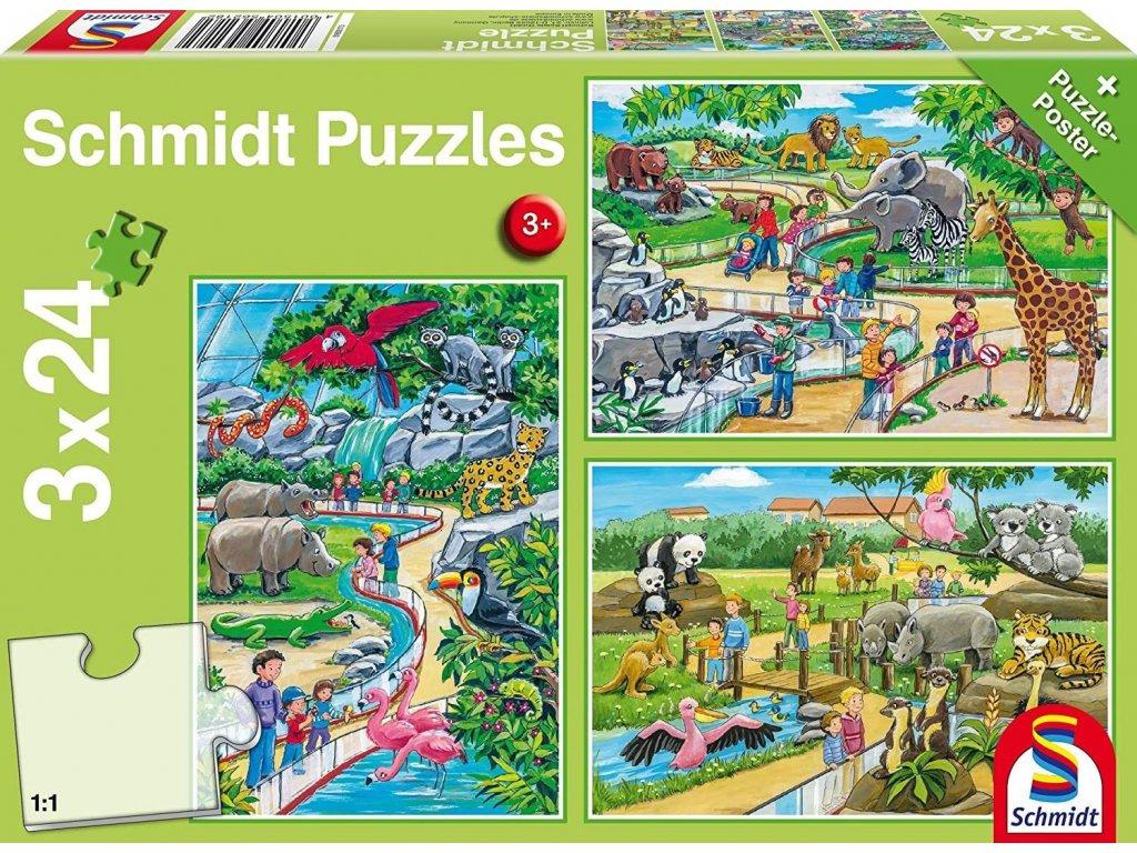 SCHMIDT Puzzle Den v zoo 3x24 dílků