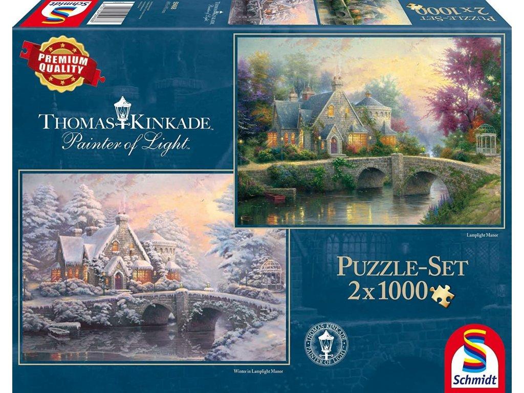 SCHMIDT Puzzle Jaro a zima v Lamplight Manor 2x1000 dílků