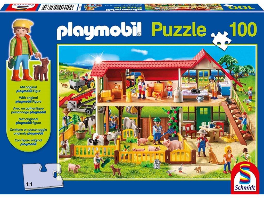 SCHMIDT Puzzle Playmobil Farma 100 dílků + figurka Playmobil
