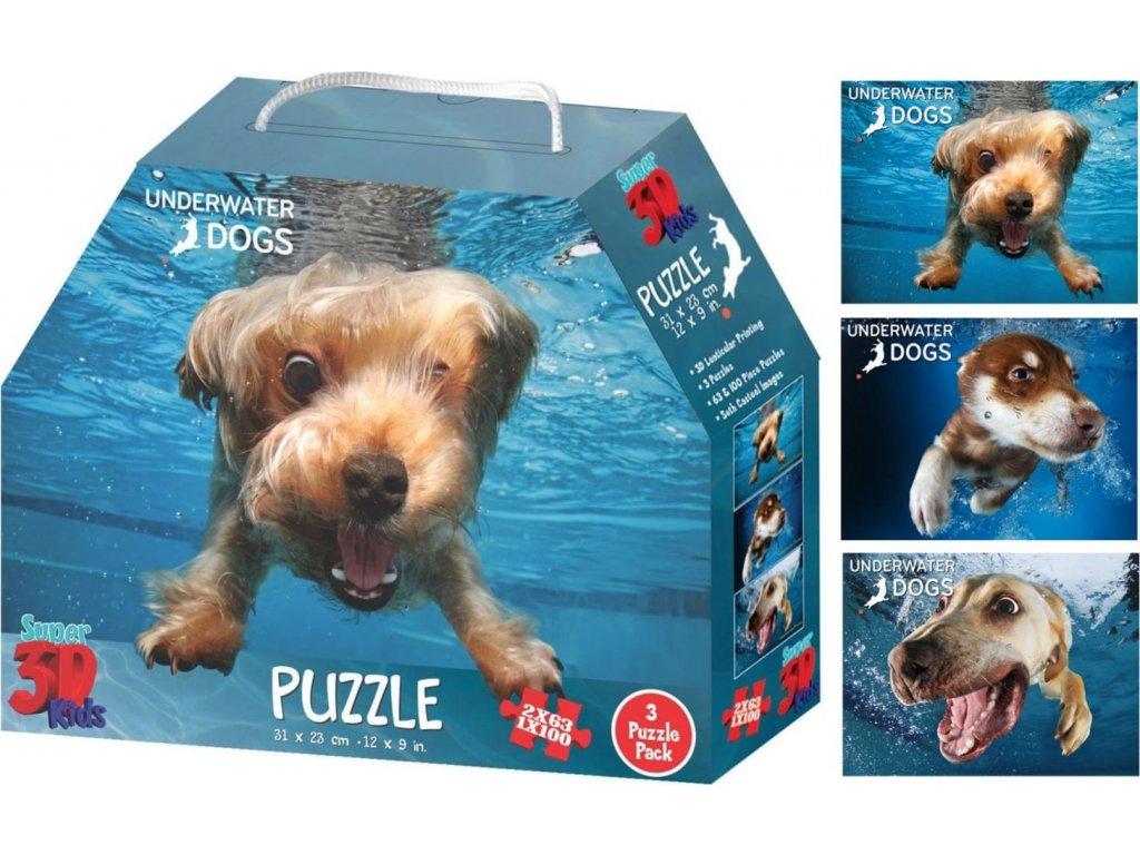 PRIME 3D Puzzle Potápějící se psi: Brady, Hunter & Nevada 3D 3v1